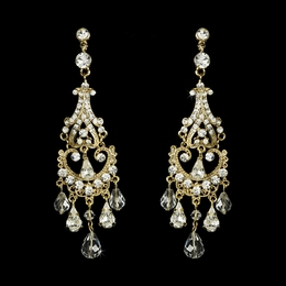 """Romance"" Swarovski Crystal Chandelier Earrings (Gold)"