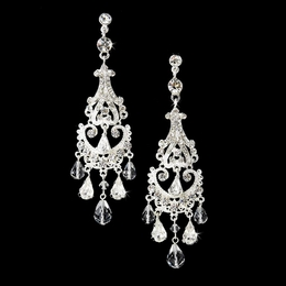 """Romance"" Swarovski Crystal Chandelier Earrings (Silver)"