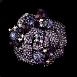 """Rose Garden"" Crystal Flower Brooch (Amethyst Purple on Antique Silver)"