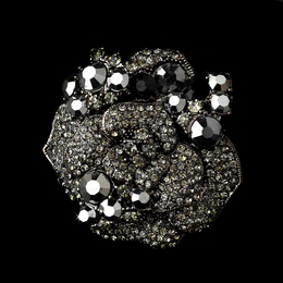 """Rose Garden"" Crystal Flower Brooch (Black on Antique Silver)"