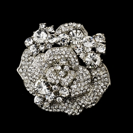 """Rose Garden"" Crystal Flower Brooch (Clear on Antique Silver)"
