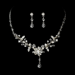 """Rosemary"" Swarovski Crystal Necklace and Earrings Set (Clear on Silver)"