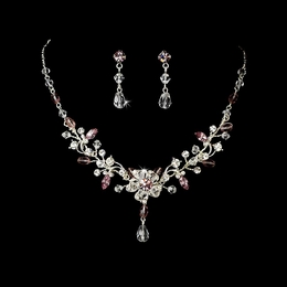 """Rosemary"" Swarovski Crystal Necklace and Earrings Set (Light Amethyst)"