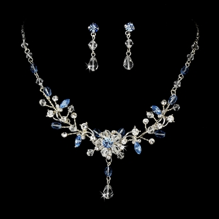 """Rosemary"" Swarovski Crystal Necklace and Earrings Set (Blue)"