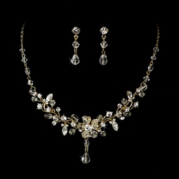 """Rosemary"" Swarovski Crystal Necklace and Earrings Set (Clear on Gold)"