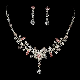 """Rosemary"" Swarovski Crystal Necklace and Earrings Set (Pink)"