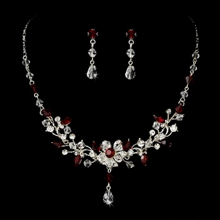 """Rosemary"" Swarovski Crystal Necklace and Earrings Set (Red)"