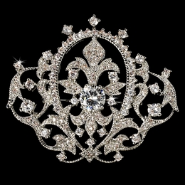 """Royal Delight"" Antique Silver Vintage Crown Rhinestone Brooch"