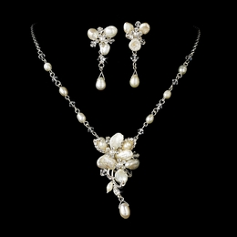 """Sea Breeze"" Freshwater Pearl Necklace and Earrings Set (Silver)"