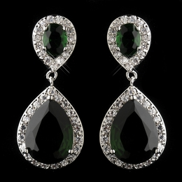"""Sensation"" Cubic Zirconia (CZ) Tear Drop Earrings (Emerald Green)"