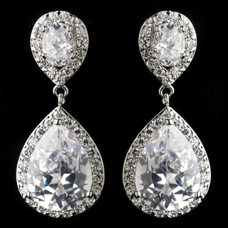 """Sensation"" Cubic Zirconia (CZ) Tear Drop Earrings (Silver)"