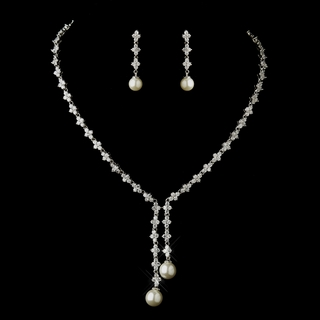 """Shall We Dance?"" Ivory Pearl and Cubic Zirconia (CZ) Necklace and Earrings Set"