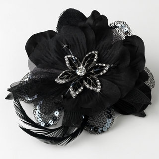 """Sheer Elegance"" Feather Fascinator Clip with Brooch Pin (Black)"