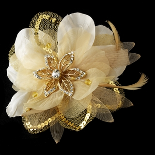 """Sheer Elegance"" Feather Fascinator Clip with Brooch Pin (Gold)"