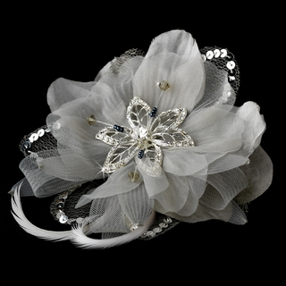 """Sheer Elegance"" Feather Fascinator Clip with Brooch Pin (Silver)"