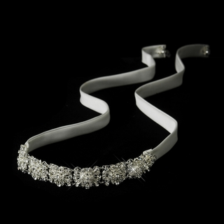 """Silverado"" Crystal Ribbon Headband (White or Ivory)"