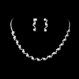 """Simply Elegant"" Rhinestone and Pearl Necklace and Earrings Set"