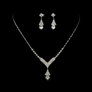 """Singing in the Rain"" Rhinestone Necklace and Earrings Set (Clear on Silver)"