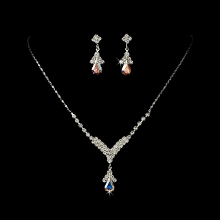 """Singing in the Rain"" Rhinestone Necklace and Earrings Set (AB-Reflective on Silver)"