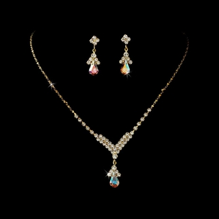 """Singing in the Rain"" Rhinestone Necklace and Earrings Set (AB-Reflective on Gold)"