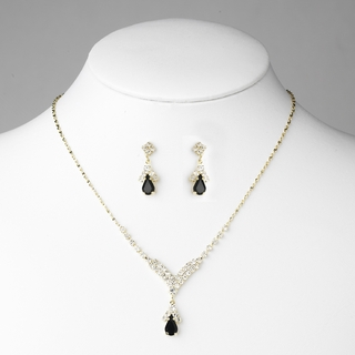 """Singing in the Rain"" Rhinestone Necklace and Earrings Set (Black on Gold)"