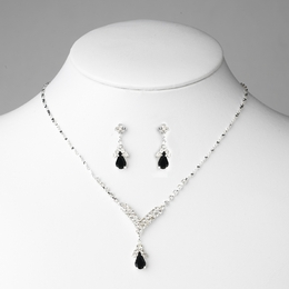 """Singing in the Rain"" Rhinestone Necklace and Earrings Set (Black on Silver)"