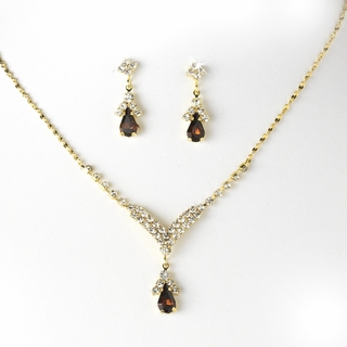 """Singing in the Rain"" Rhinestone Necklace and Earrings Set (Brown on Gold)"