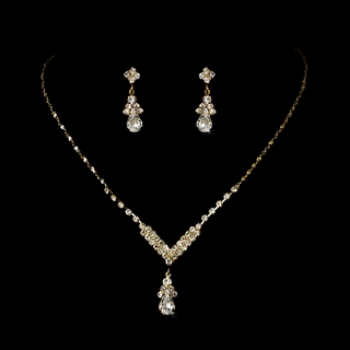 """Singing in the Rain"" Rhinestone Necklace and Earrings Set (Clear on Gold)"