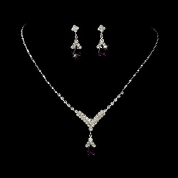 """Singing in the Rain"" Rhinestone Necklace and Earrings Set (Dark Amethyst on Silver)"