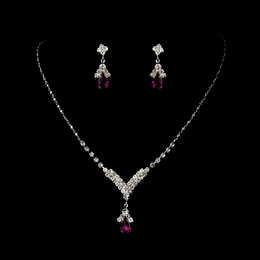 """Singing in the Rain"" Rhinestone Necklace and Earrings Set (Fuchsia on Silver)"