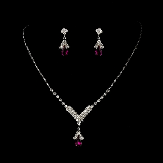 """""""Singing in the Rain"""" Rhinestone Necklace and Earrings Set (Fuchsia on Silver)"""