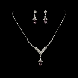 """Singing in the Rain"" Rhinestone Necklace and Earrings Set (Light Amethyst on Silver)"