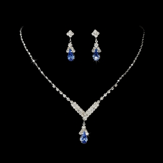 """Singing in the Rain"" Rhinestone Necklace and Earrings Set (Light Blue on Silver)"