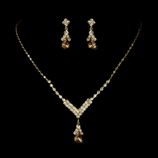"""Singing in the Rain"" Rhinestone Necklace and Earrings Set (Light Brown on Gold)"