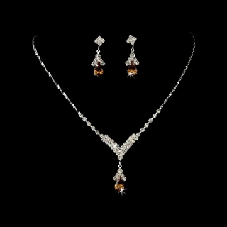 """Singing in the Rain"" Rhinestone Necklace and Earrings Set (Light Brown on Silver)"