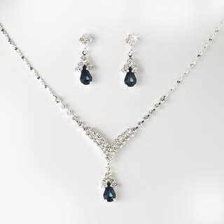 """Singing in the Rain"" Rhinestone Necklace and Earrings Set (Navy Blue on Silver)"