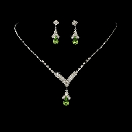 """Singing in the Rain"" Rhinestone Necklace and Earrings Set (Peridot Green on Silver)"
