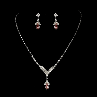 """Singing in the Rain"" Rhinestone Necklace and Earrings Set (Pink on Silver)"