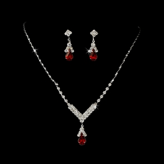 """Singing in the Rain"" Rhinestone Necklace and Earrings Set (Red on Silver)"