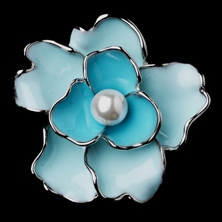 """Something Special"" Pearl Flower Brooch (Blue on Silver)"
