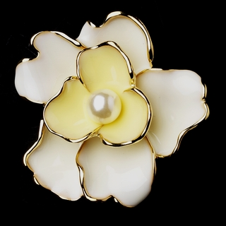 """Something Special"" Pearl Flower Brooch (Yellow on Gold)"