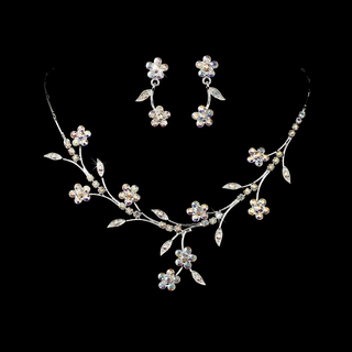 """Spring in the Valley"" Rhinestone Necklace and Earrings Set (AB-Reflective on Silver)"