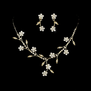 """Spring in the Valley"" Rhinestone Necklace and Earrings Set (Clear on Gold)"