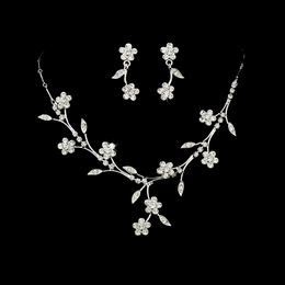 """Spring in the Valley"" Rhinestone Necklace and Earrings Set (Clear on Silver)"