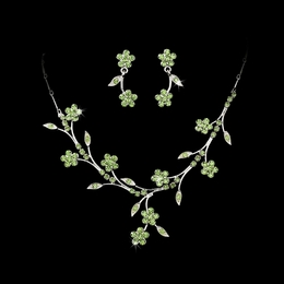 """Spring in the Valley"" Rhinestone Necklace and Earrings Set (Green on Silver)"