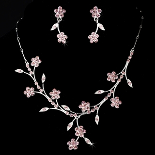 """Spring in the Valley"" Rhinestone Necklace and Earrings Set (Pink on Silver)"