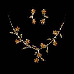 """Spring in the Valley"" Rhinestone Necklace and Earrings Set (Topaz on Gold)"