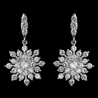 """Starlight"" Cubic Zirconia (CZ) Snowflake Earrings"