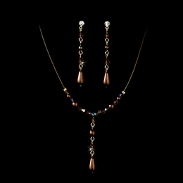 """Steppin' Out"" Pearl and Crystal Bead Necklace and Earrings Set (Brown on Gold)"