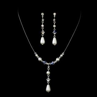 """Steppin' Out"" Pearl and Crystal Bead Necklace and Earrings Set (White on Silver)"